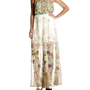 MM Couture Strapless Floral Full Leg Jumpsuit